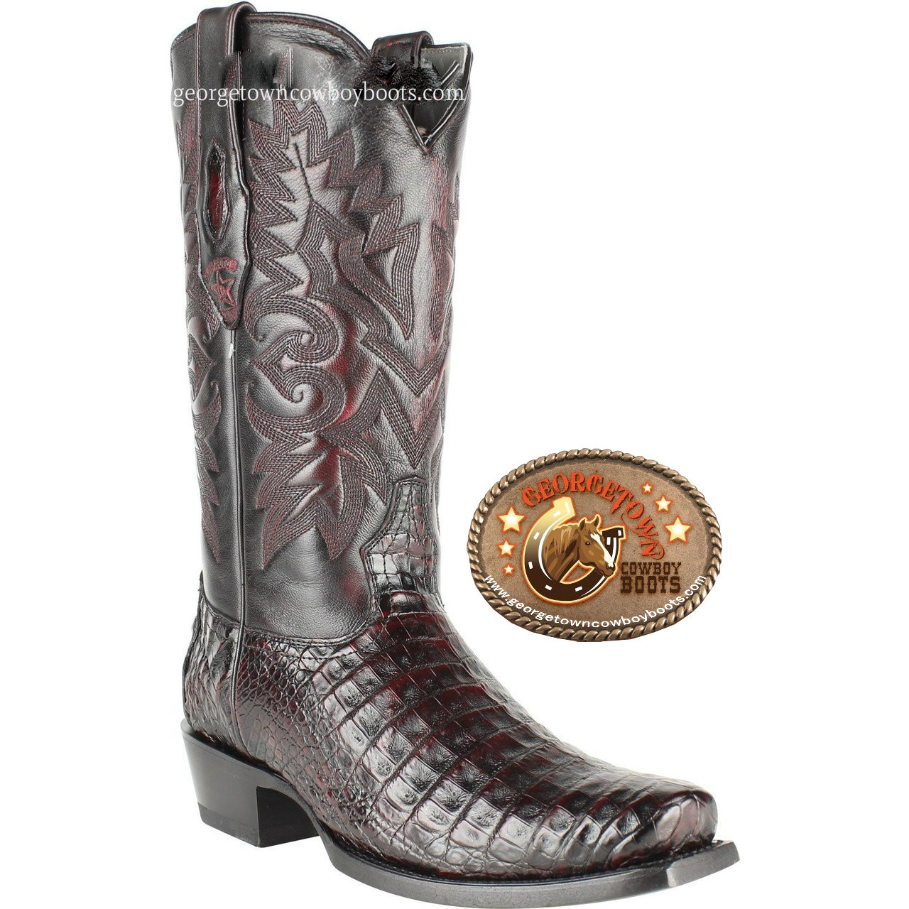 a02bb474c77 Mens Los Altos Caiman Belly 7 Toe Western Cowboy Boots 588218 Cherry Black