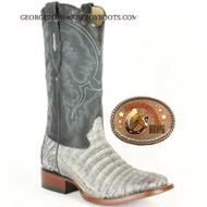 Mens Gray Caiman Belly Square Toe Boots