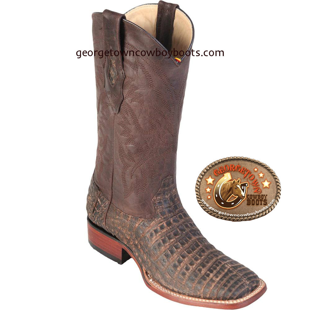 81e18e9ac3b Men's Los Altos Caiman Belly Square Toe Handcrafted Boots Brown,Honey color
