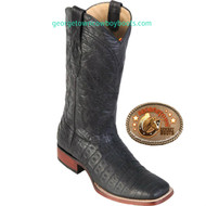 Caiman Alligator Belly Rodeo Western Boots  822G8205 Black Greasy Finish