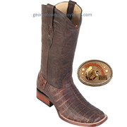Caiman Alligator Belly Square Toe Western Boots  822G8207 Brown Greasy Finish