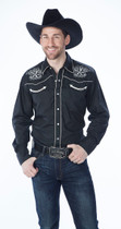 Black Men's Retro Western Fashion Shirts with Star Design Embroidery
