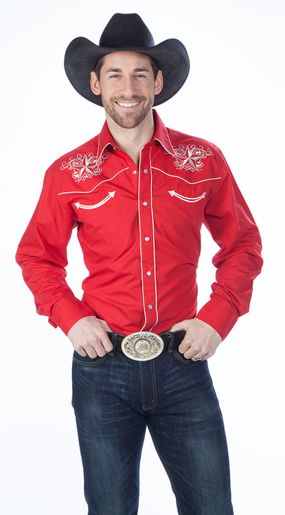 Red Men's Retro Western Fashion Shirts with Star Design Embroidery