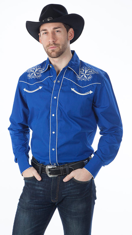 Royal Blue Men's Retro Western Fashion Shirts with Star Design Embroidery