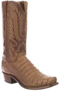 Lucchese N1159  7/3 Hornback Caiman Tan color with the square toe  ( 7-Toe )