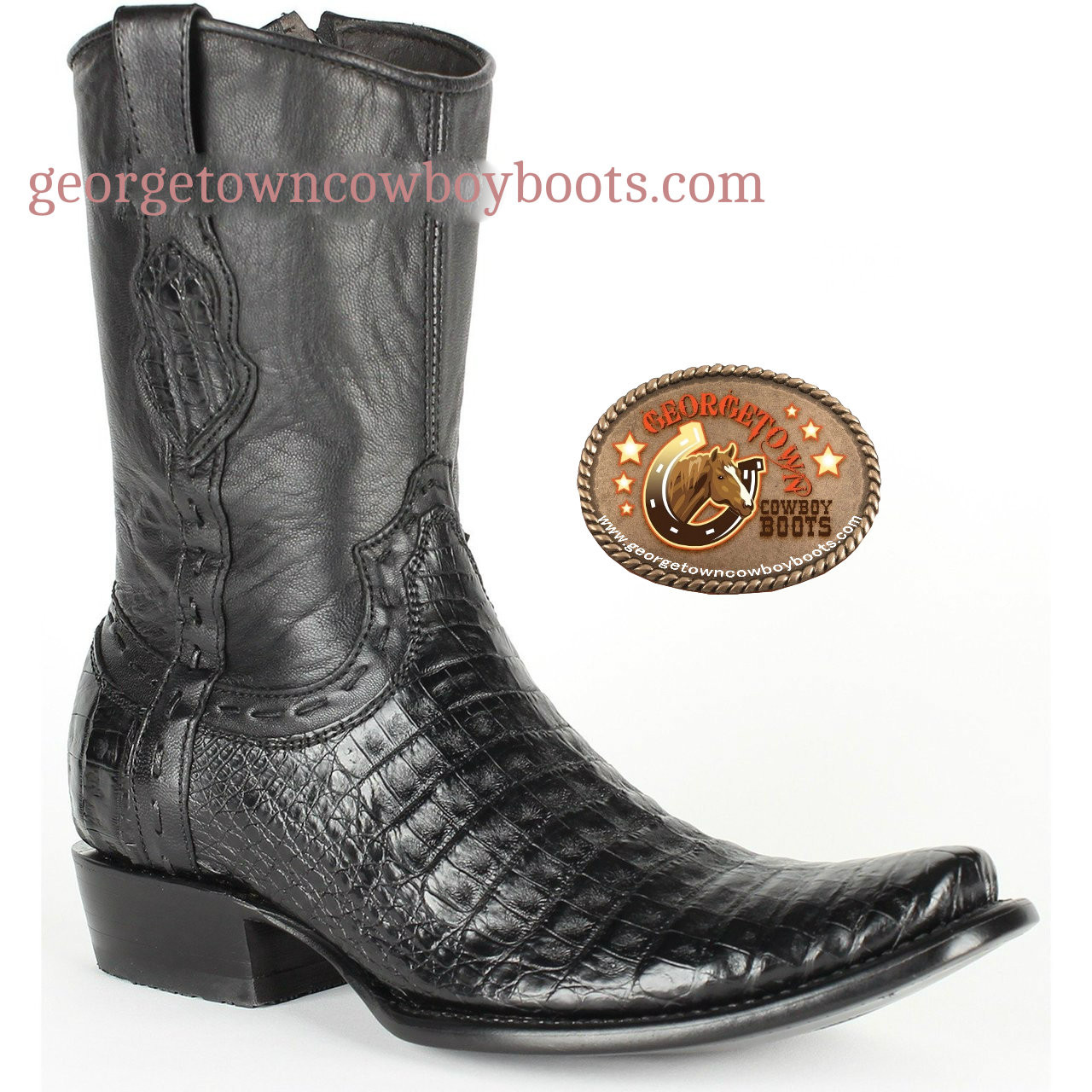 1f6b8c19c7f King Exotic Mens Black Genuine Caiman Belly Boots Dubai Toe with Inside  Zipper