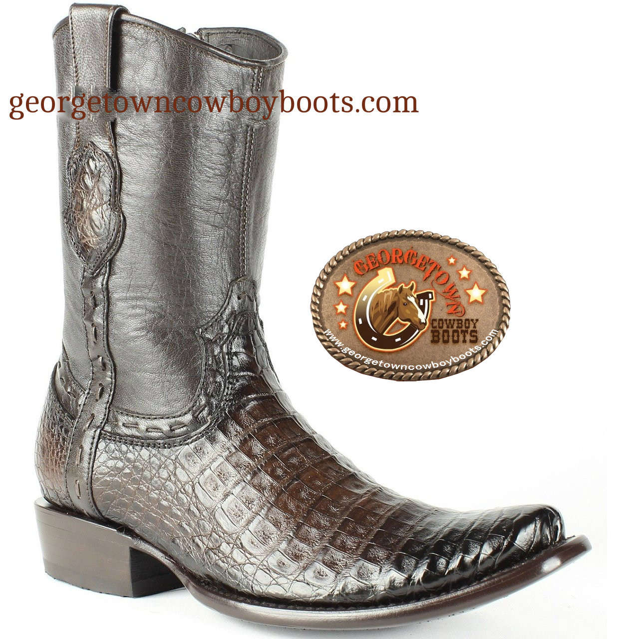 db1f55e8d2f King Exotic Mens Brown Genuine Caiman Belly Boots Dubai Toe with Inside  Zipper