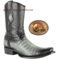 King Exotic Mens Genuine Caiman and Deer Leather Boots H79 Dubai Toe 479B8228 - Faded Gray Color