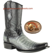 King Exotic Mens Genuine Caiman and Deer Leather Boots H79 Dubai Toe 479BF8228 Gray /Black Color