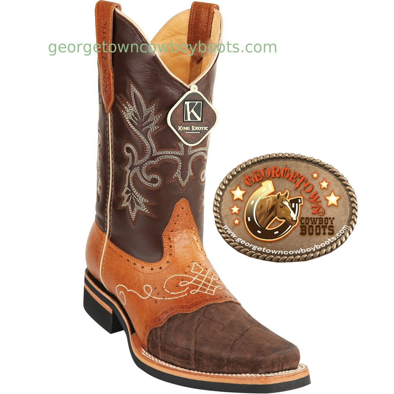 fe651c57e95 Mens King Exotic Elephant Skin Boots Square Toe With Saddle Vamp Brown and  Tan