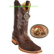 Mens King Exotic Elephant Skin Square toe Handcrafted Boots
