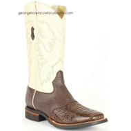 Men's King Exotic Square Toe Smooth Caiman Boots Rubber Sole