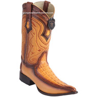 Men's Los Altos Genuine Caiman Tail Boots With Deer 3x Toe Handcrafted  9520101