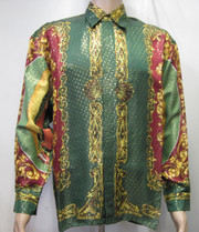 Virgen Maria Baroque Silk Shirt Green