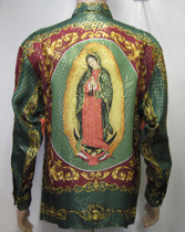 Virgin Mary - Our Lady Of Guadalupe Silk Shirt  Baroque Metallic Silk