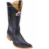 Men's Los Altos Genuine Caiman Tail 3x Toe Boots Handcrafted Black 950105