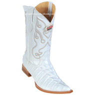 Men's Los Altos Caiman Tail Print Boots 3X Toe Handcrafted White 3950128