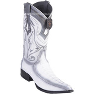 Men's Los Altos Genuine Caiman Tail Boots With Deer 3x Toe Handcrafted White 9520128