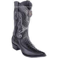 Men's Los Altos Genuine Caiman Tail Boots With Deer 3x Toe Handcrafted Black 9520105