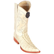 Men's Los Altos Caiman Tail Print Boots 3X Toe Handcrafted Winterwhite 3950104
