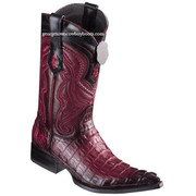 Men's Los Altos Caiman Tail Boots 3X Toe Handcrafted Faded Burgundy 9530143