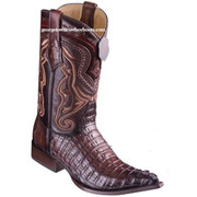 Men's Los Altos Caiman Tail Boots 3X Toe Handcrafted Faded Brown 9530116