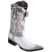 Men's Los Altos Caiman Tail Boots 3X Toe Handcrafted White 9530128