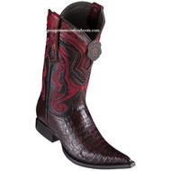 Men's Los Altos Caiman Belly Boots 3X Toe Handcrafted Black Cherry 9538218