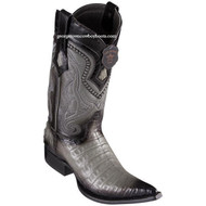 Men's Los Altos Caiman Belly Boots 3X Toe Handcrafted Faded Gray 9538238