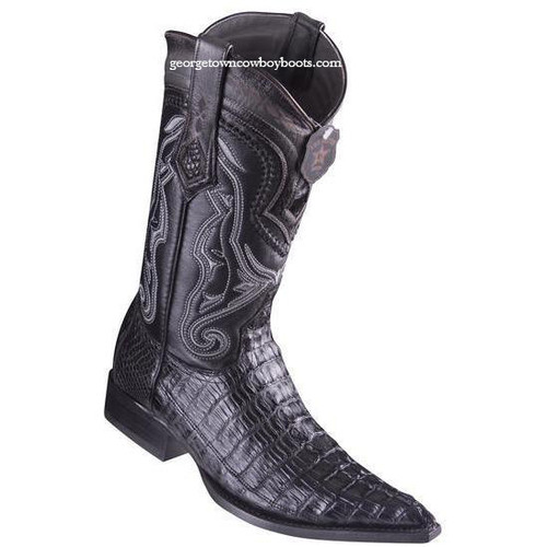 Men's Los Altos Caiman Tail Boots 3X Toe Handcrafted Black 9530105