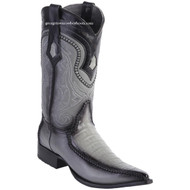 Men's Los Altos Genuine Caiman Belly Boots With Deer 3x Toe Handcrafted Faded Gray  9528238