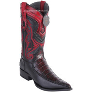Men's Los Altos Genuine Caiman Belly Boots With Deer 3x Toe Handcrafted Black Cherry 9528218