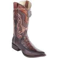 Men's Los Altos Genuine Caiman Belly Boots With Deer 3x Toe Handcrafted Faded Brown  9528216