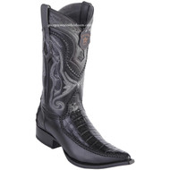 Men's Los Altos Genuine Caiman Belly Boots With Deer 3x Toe Handcrafted Black 9528205