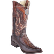 Men's Los Altos Genuine Caiman Tail Boots With Deer 3x Toe Handcrafted Faded Brown  9520116