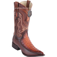Men's Los Altos Genuine Caiman Tail Boots With Deer 3x Toe Handcrafted Faded Cognac 9520157
