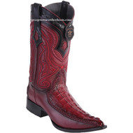 Men's Los Altos Genuine Caiman Tail Boots With Deer 3x Toe Handcrafted Faded Burgundy