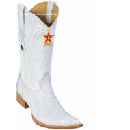Men's Los Altos Genuine Caiman Tail 3x Toe Boots Handcrafted White 950128
