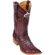 Men's Los Altos Genuine Caiman Tail 3x Toe Boots Handcrafted Burgundy  950106