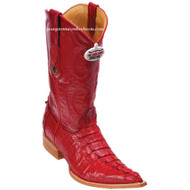 Men's Los Altos Genuine Caiman Tail 3x Toe Boots Handcrafted Red  950112