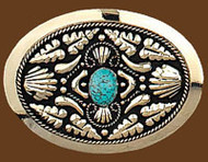 Western Belt Buckle w/Genuine Turquoise Stone,German Silver