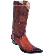 Men's Los Altos Genuine Caiman Belly 3x Toe Boots Handmade Burnished Cognac 95vf8257