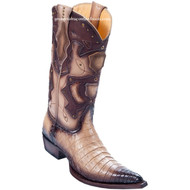 Men's Los Altos Genuine Caiman Belly 3x Toe Boots Handmade Burnished Oryx 95vf8215