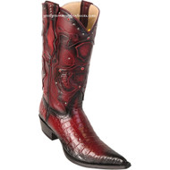 Men's Los Altos Genuine Caiman Belly 3x Toe Boots Handmade Burnished Burgundy  95VF8243
