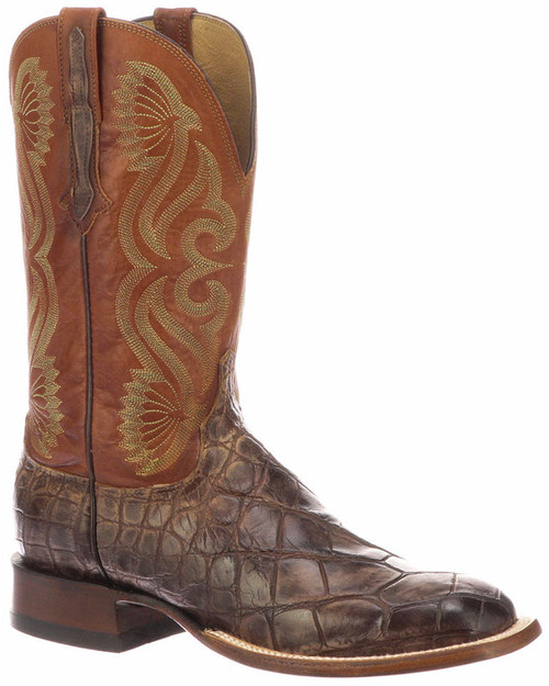 Roy Lucchese CL1072 Giant Gator Mens Boots Chocolate and Cognac color