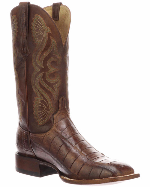 Lucchese CL1073 Giant Gator Horseman Western Boots Square Toe CL1073 Brown + Tan