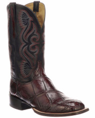 Lucchese CL1071 Giant Gator Black Cherry Mens Boots CL1071 Black Cherry + Black