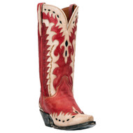 Mae Leather Western Boots DP3752  Red & Bone