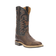 BOS  Lucchese Cowhide Western Boots M4178 BROWN + BLACK W TOE,F HEEL