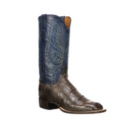 TROY Lucchese Mens American Alligator Western Boots CL1045 CHOCOLATE + OCEAN BLUE W TOE,8 HEEL